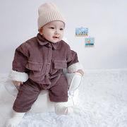 韓国子供服ベビーロンパースコーデュロイコートジャンプスーツ 男女共用66-90m 人気 新品