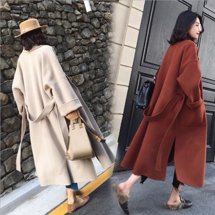 秋冬季 韓国スタイル ラシャ コート ロング丈 アウター シンプル トレンチ マストアイテム レディース