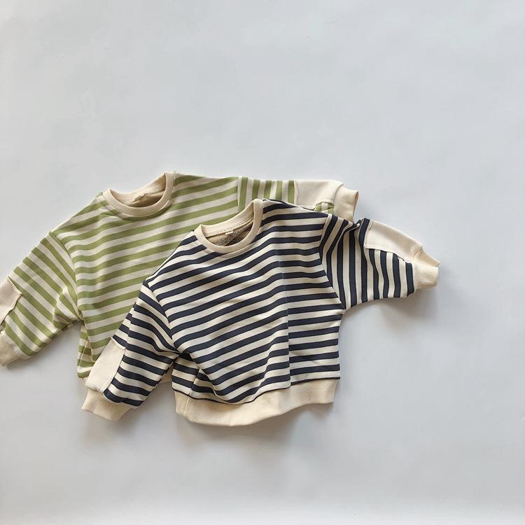 【BABY KID】 みんな大好きボーダー!コットントップス トレーナー 秋冬服   全2色