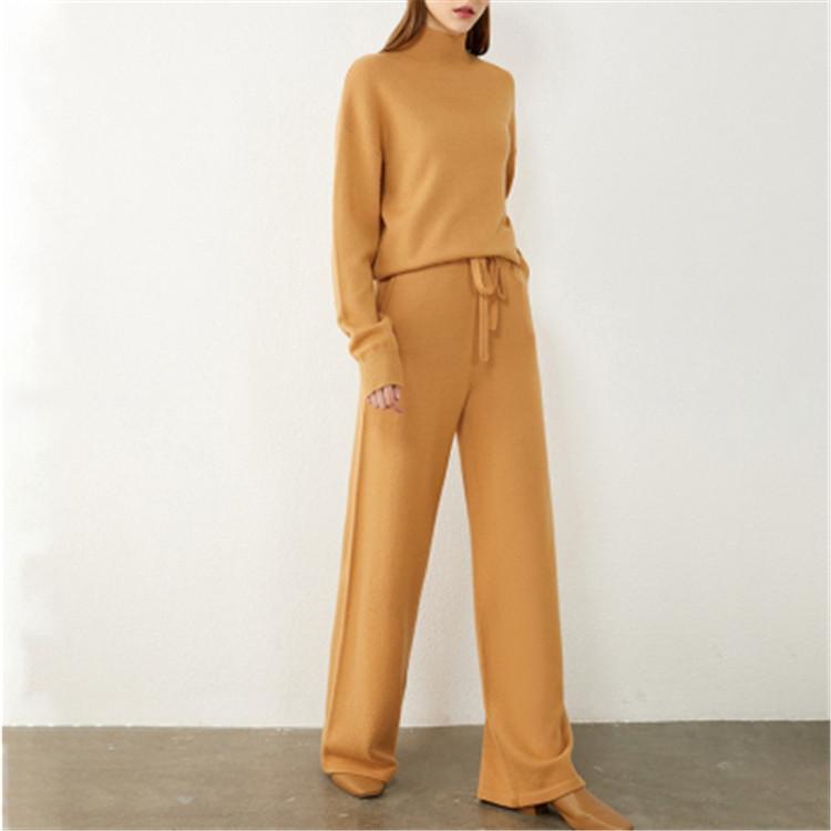 大人旬Style通勤する秋ニットカーディガンタートルネックセーター ワイドパンツ スーツ 3点セット高品質