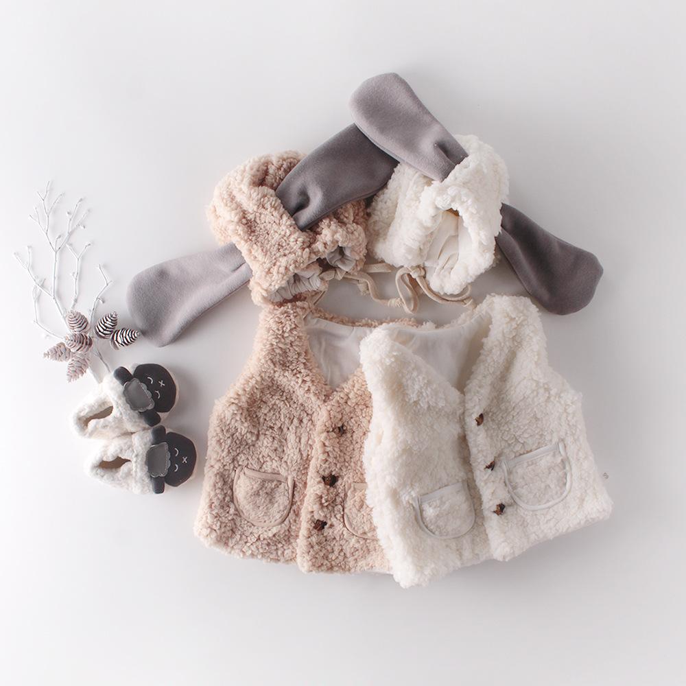 【BABY KID】暖かベルベットのモコモコボアベスト ベスト+羊帽子セット 全2色