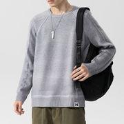 新作 セーター 紳士 無地 ラウンドネック シンプル シャーツ 学生 ゆったり ニット トップス メンズ