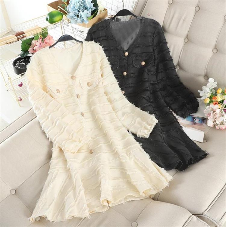 超格安での販売が実現!韓国ファッション ミニスカート タッセル 大きい裾 長袖 トレンド ヘビーバックル