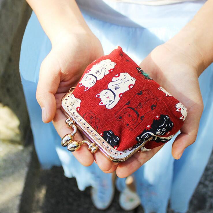 招き猫柄コインケース キーケース 鍵/小銭入れ がま口 小財布