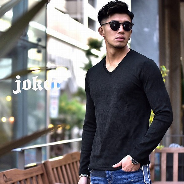 長袖Tシャツ/ふくれジャガード長袖カットソー