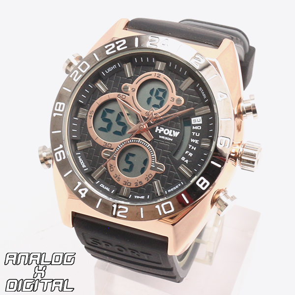 アナデジ デジアナ HPFS9608-PGD アナログ&デジタル クロノグラフ ダイバーズウォッチ風メンズ腕時計