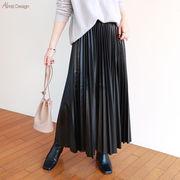 【C-10】ウエストゴム レザー調 プリーツ ロング スカート
