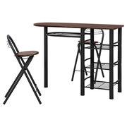 カウンターテーブル&チェアーセット ブラウン×ブラック
