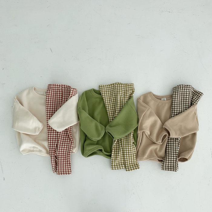 【キッズ】韓国防寒プルオーバー+チェック柄パンツ