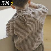 【即納】 首もとしっかり温めよう!バックボタンハイネック縦ライントップス 秋冬服   全2色