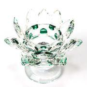 クリスタルガラス 蓮花台 お皿 大サイズ グリーンカラー 風水 置物 彫り物 インテリア オブジェ