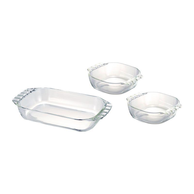 ハリオ 耐熱ガラス製トースター皿3個セット HTZ-2808