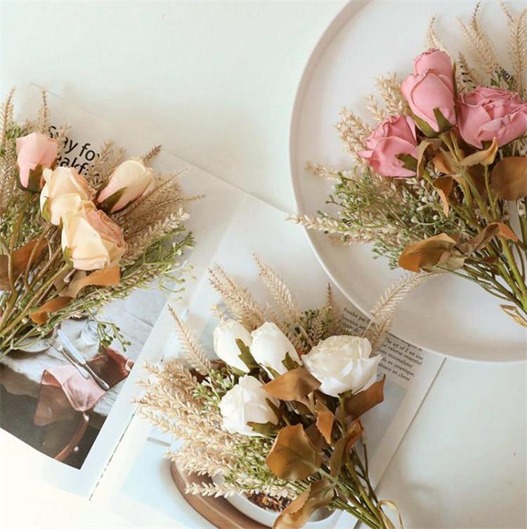 造花  シミュレーション 焦げた 穀物 干し草 バラ 花 ドライフラワー 写真の小道具 手持ちの花