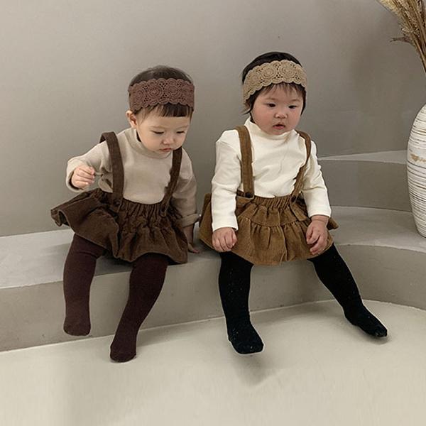 【BABY】2021年新作 ベビー服 コーデュロイスカート&シャツセット 無地