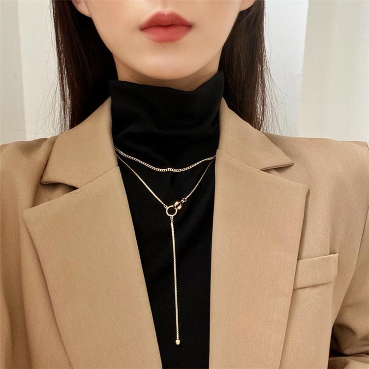 シンプル 個性 百掛け 細いチェーン セーターチェーン ファッション 二重のネックレス 気質 トレンド