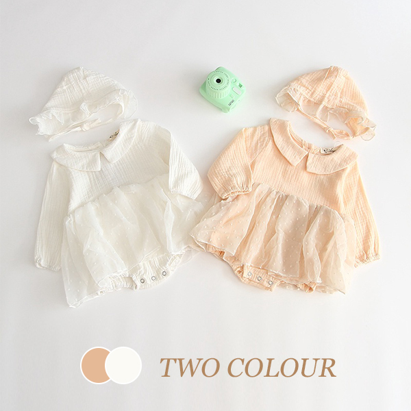 【BABY】2021年韓国春新作 超お得帽子付きスカートロンパース 全2色