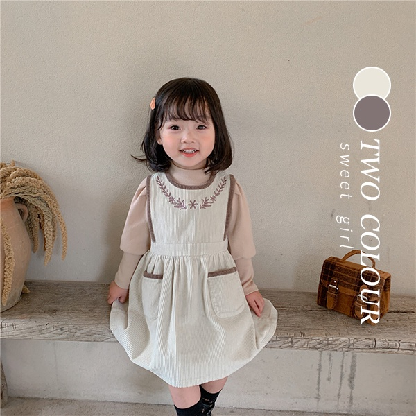 【KID】2021年韓国春新作 無地長袖シャツ+刺繍ポケットワンピース 2点セット