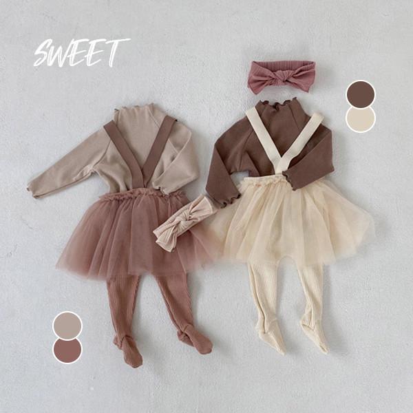 【BABY】2021年韓国春新作 ソックス付きチュールスカート 全2色