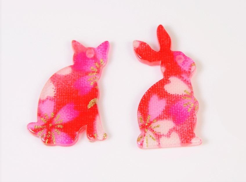 【春夏アクセサリー】和柄猫パーツ/ウサギパーツ/猫雑貨/桜デコパーツ/両面研磨&ツヤコーティング加工済