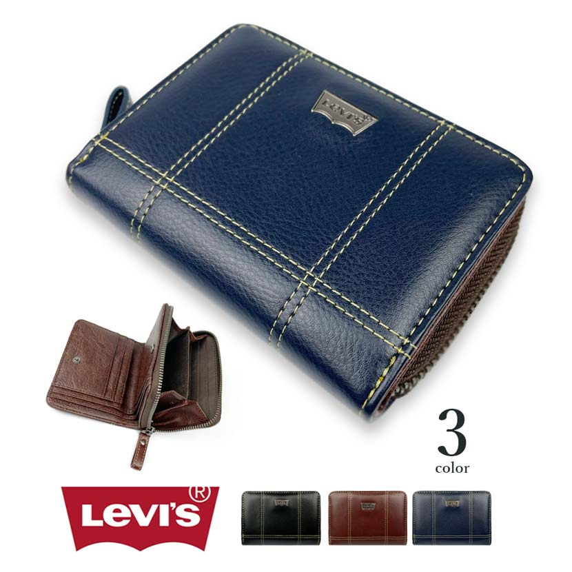 【全3色】Levis リーバイス ロゴプレート ステッチデザインエコレザー 二つ折り財布