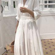 レディース服 ワンピース ドレス Vネック ハイウエスト ゆったり 韓国ファッション