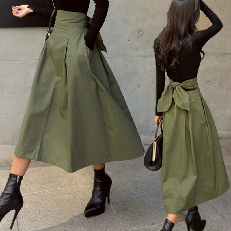 【Women】バッグリボンAラインアーミーグリーンロングスカート