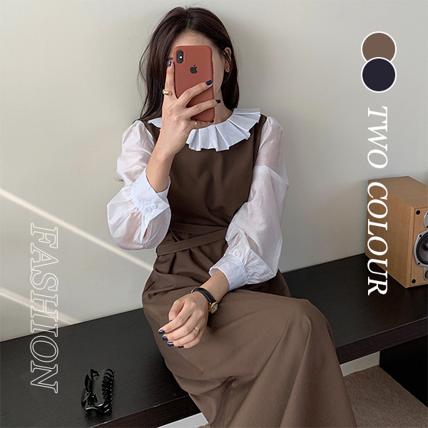 【Women】2021年新作 ロング丈ワンピース レトロ調 可愛く見え 韓国ファッション sweet系