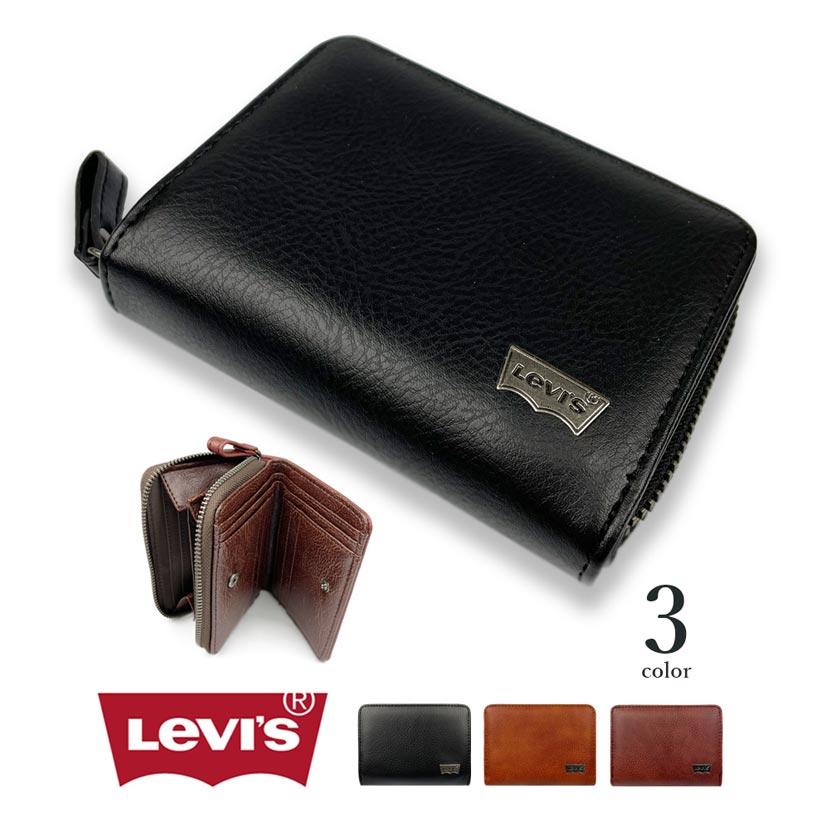 【全3色】Levis リーバイス ロゴプレート プレーンデザインエコレザー 二つ折り財布