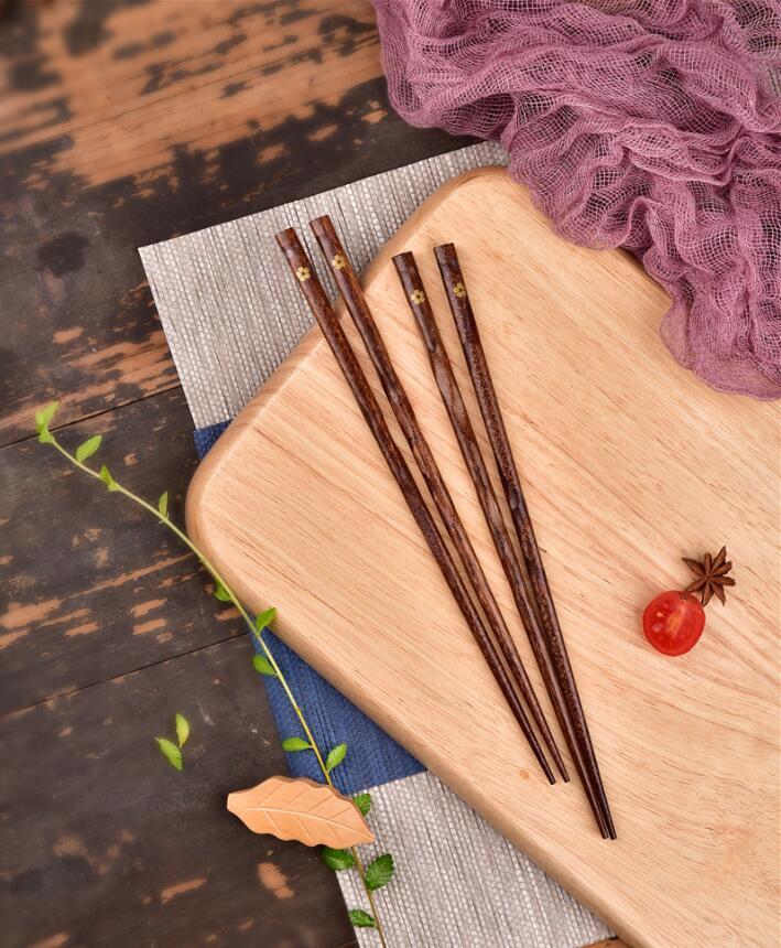 木製  小金花木箸 ホテル用 家庭用尖頭箸 普段使い お箸 おはし/ギフト/プレゼント/大人用