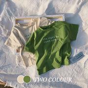 【KID】2021年韓国春夏新作 子供服 半袖tシャツ カジュアル 全2色 英字