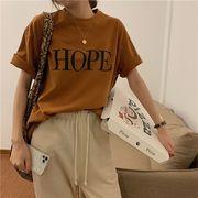 2カラー 半袖Tシャツ/体型カバー/着痩せ/プリント/LOGO/ロゴ/英字/シンプル/カジュアル