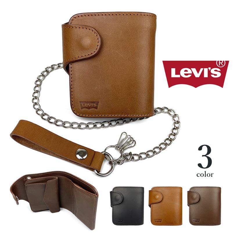 【全3色】Levis リーバイス 本革 ウォレットチェーン付き 二つ折財布 ショートウォレット本革 牛革