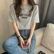 3カラー 半袖Tシャツ/プリント/ラウンドネック/丸首/スリム/着痩せ/LOGO/ロゴ/英字/シンプル/カジュ