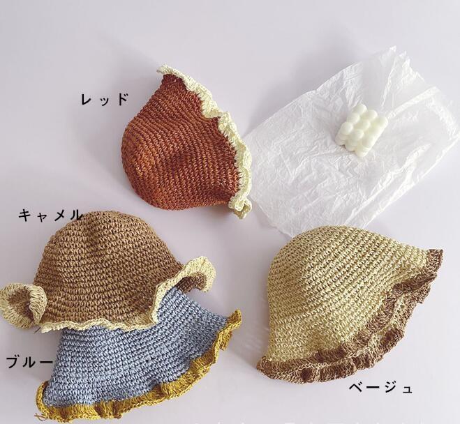 春新品★★キッズ帽 可愛いハット 草編み帽子★6色