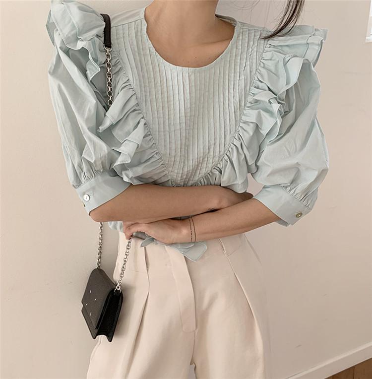 女性の魅力を更に引き出  韓国ファッション プリーツ フリル シャツ ゆったりする sweet系 気質 シンプル