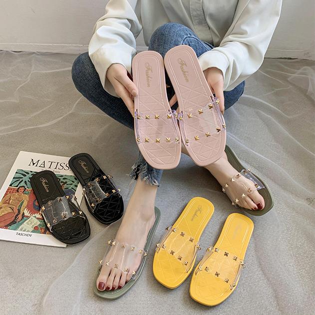 足にフィット!サンダル ぺたんこ スリッパ 透明 韓国スタイル シューズ 靴 人気アイテム レディース