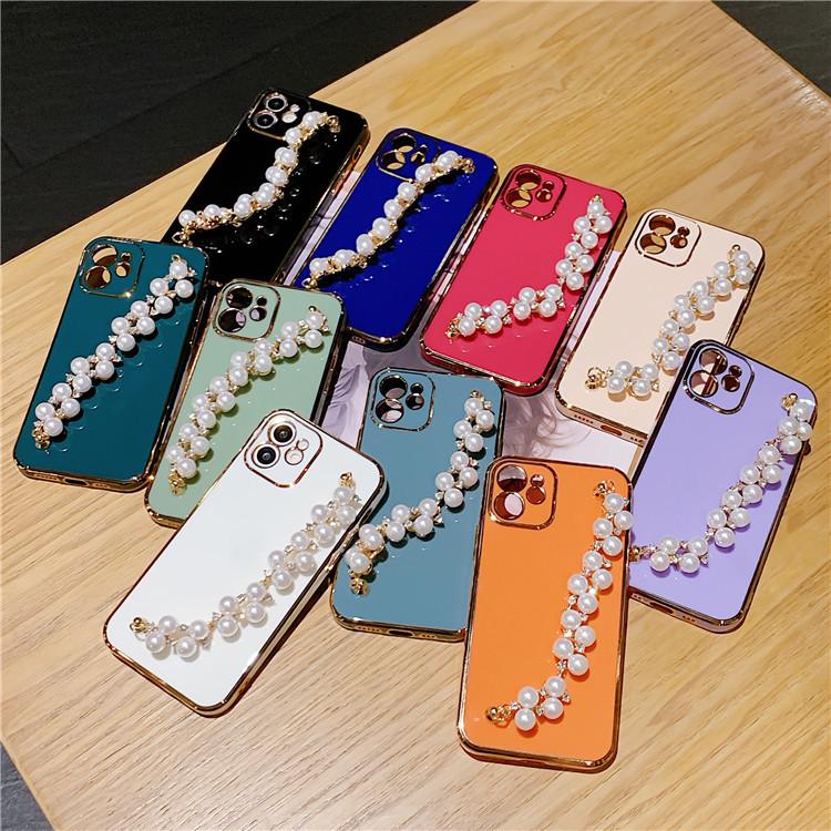 パールブレスレット付きiPhone7~12Pro maxケース メッキ アイフォンケースカバー 人気
