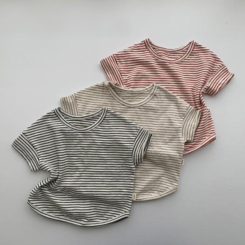 【KID】2021年春夏新作 子供服 ベビー服 ボーダー短袖シャツ 可愛い 韓国風