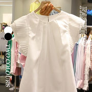 【Women】2021年春夏新作 韓国風レディーストップス フリル袖tシャツ ノースリーブ 可愛い