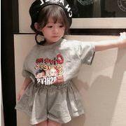 子供服 Tシャツ スカートパンツ 2点セット キッズ 子ども 夏 英字 カジュアル かわいい 人気