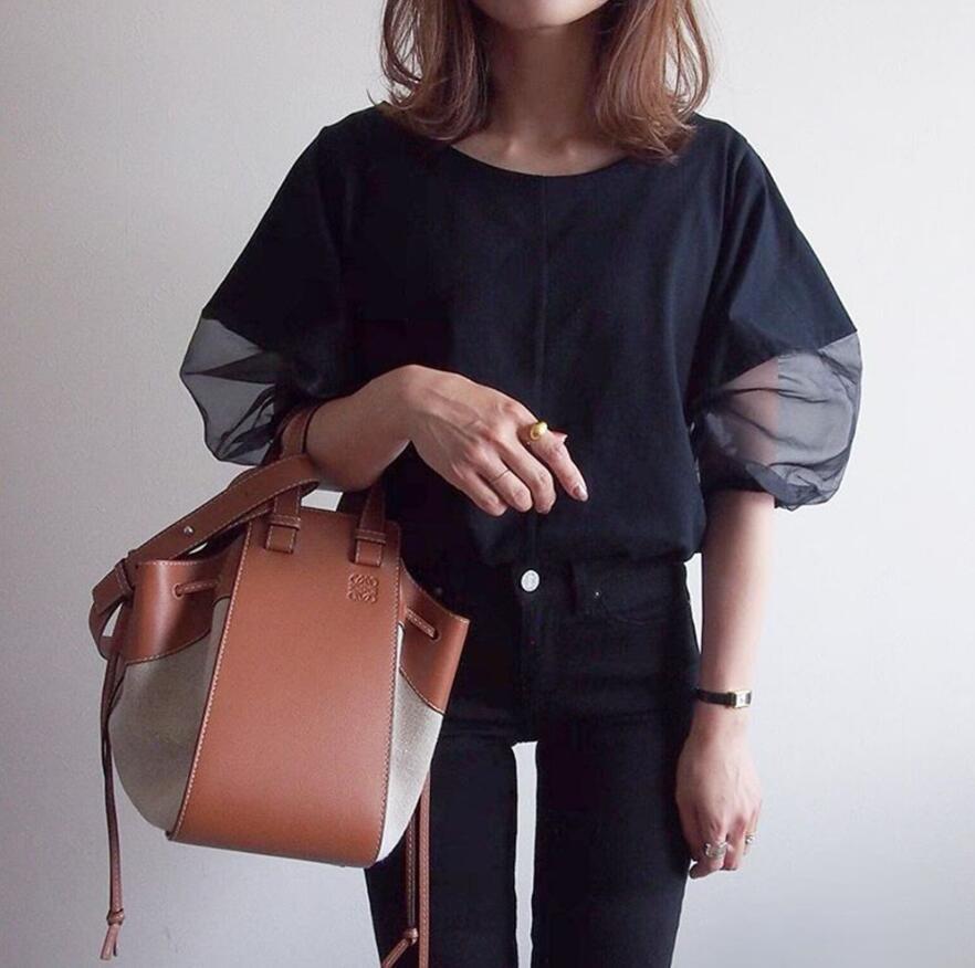 2021新作 Tシャツ パフスリーブ tシャツ 半袖 異素材 トレンド感 夏 春 レディース