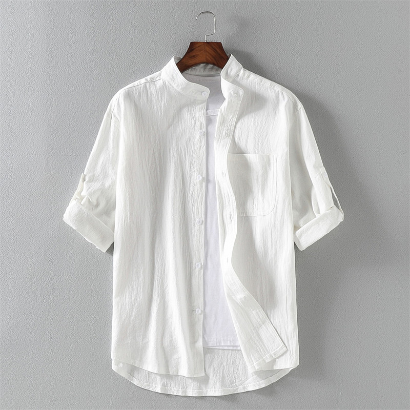 春夏新作 メンズトップス 紳士シャツ 七分袖丈Tシャツ 綿麻シャツ カジュアル ゆったり