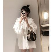 韓国ファッション 可愛い 中・長セクション 単体ボタン 海軍襟 ランタンスリーブ マタニティウェア シャツ
