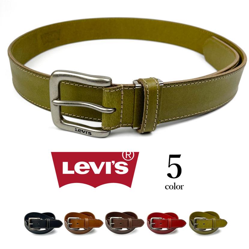 【全5色】 Levi's リーバイス リアルレザー ステッチデザイン プレーン ベルト