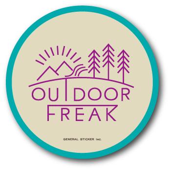 アウトドアステッカー OUTDOOR FREAK 01 アウトドアフリーク ロゴ サークルステッカー OD01