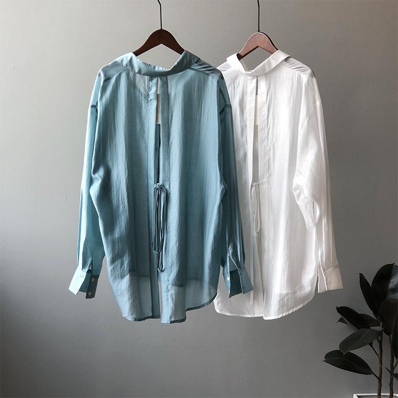 2021年春夏新作 韓国風 レディース シャツ バッグスリットブラウス 無地 通勤 4色S-L