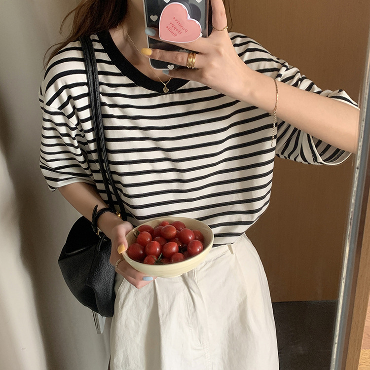 韓国 韓国ファッション レディース クルーネック ボーダー 半袖 Tシャツ