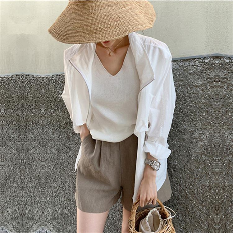 日焼け防止服 エアコンシャツ 薄い コート 百掛け カジュアル ゆったりする