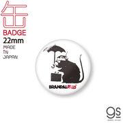 Umbrella Rat 22mm豆缶バッジ ブランダライズド アート アート缶バッジ アクセサリー 人気 ネズミ BNK040