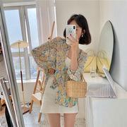 韓国 韓国ファッション レディース シフォン シャツ 花柄 カラフル 日よけ